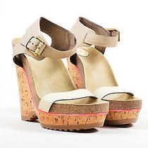 Stella Mccartney 735 Beige Faux Suede Platform Wedge