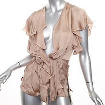 Stella Mccartney 925 Blush Silk Satin Ruffle Wrap Top Shirt Blouse 40/4 S New Photo