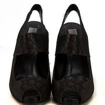 Stella Mccartney Black/graphite Lace High Heel Slingbacks Photo