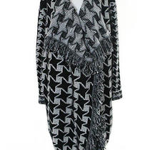Stella Mccartney Black White Wool Geometric Fringe Sweater Coat It Sz 46 Photo