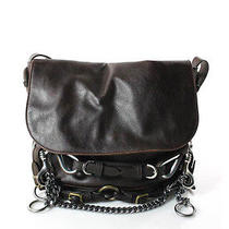 Stella Mccartney Brown Vegan Leather Silver Tone Belt Chain Satchel Handbag Evhb Photo