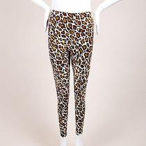 Stella Mccartney Cream Brown Yellow Wool Leopard Print Lightweight Pants Sz 36 Photo