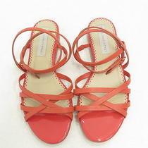 Stella Mccartney Double Crisscross Ankle Wrap Sandal Coral Faux Leather Size 39 Photo