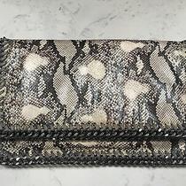 Stella Mccartney Falabella Chain Python Vegan Fold Over Clutch Bag Silver Gray  Photo