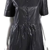 Stella Mccartney Metallic Graphite Gray Short-Sleeve Shirt Dress 40 Photo