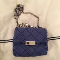 Stella Mccartney Mini Quilted Blue Crossbody Clutch Purse Silver Chain Preowned Photo