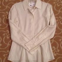 Stella Mccartney Nwt Silk White W/ Black Pin Stripe Peplum Top  Size 38 1080 Photo