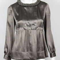 Stella Mccartney Pewter Necklace Detail Silk Blouse 40 Photo
