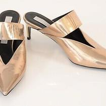 Stella Mccartney Rose Gold Faux Mirror Leather Mule Pump Shoes New  765 Size 35 Photo