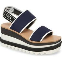 Stella Mccartney Wedge Platform Navy White Sandals Size 37 Nwb Photo