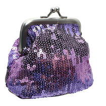 Step Into Sexy Coin Purse by Avon Purple Sequin Frame Bag Kissing Lock Closure Photo