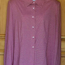 Stephan Ladies Size Xl Blush Red and Wine Striped Button Front Blouse Photo