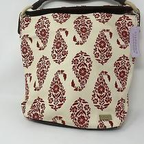 Stephanie Johnson Canvas Paisley Beige & Red Canvas Tote Purse Shoulder Bag Photo