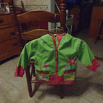 Stephen Jopheph Little Girl's 2t Green Rain Coat W/flowers & Book Bag Sale Photo