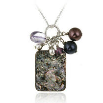 Sterling Silver Abalone Swarovski Pearls & Crystals Cluster Pendant Photo