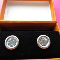 Sterling Silver Ag925 100% Authentic Hermes  Round Post Stud Earrings in Box   Photo