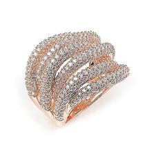 Sterling Silver Rose Gold Plated and 6 Swirls of Cz Ring Photo