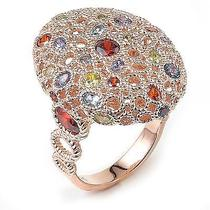 Sterling Silver Rose Gold Plated and Multi-Color Cubic Zirconia Ring Photo