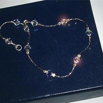 Sterling Silver Swarovski Clear Crystal Ab Ankle Bracelet 10