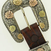 Sterling Silver W/ 14k Yellow & Rose Gold Flowers 3 Pc. Buckle Sunset Trails Photo