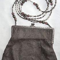Sterling Silver Whiting & Davis Antique / Vintage Mesh Purse New Beaded Strap Photo