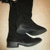 Steve Madded Girlsblack Boots Size 3 Faux Suede Back Zipper With Tassels Photo