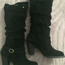 Steve Madden 8.5 M Evvie Black Suede Knee High Boots New Womens Shoes New Photo