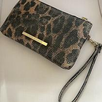 Steve Madden Animal Print Leopard Wristlet Two Pockets Preowned Photo