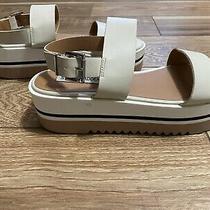 Steve Madden Apollo Colorblock Platform Sandals Leather White Black Tan Size 8.5 Photo