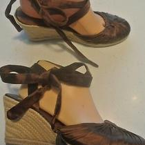 Steve Madden Barrier Brown Satin Sandals Ankle Lace Up Calf Shoes Size 8 Closet Photo