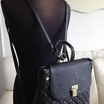 Steve Madden Black Backpack Handbag Tote Faux Quilted Leather Gold Lock Nwt New Photo