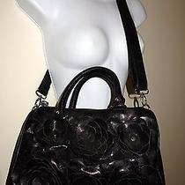 Steve Madden Black Faux Leather Flower Speedy Shoulder Hand Bag Crossbody Purse Photo