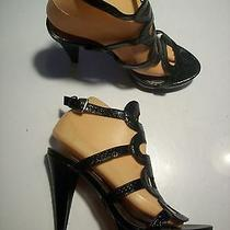 Steve Madden Black Faux Snake Patent Platform Sandals Heels Shoes Size 7 Closet Photo