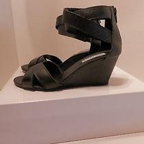 Steve Madden Black Leather Sandals Wedge Heel - Size 7m - New Photo