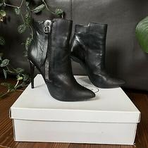 Steve Madden Black Leather Side Zip Heeled Boots Booties Ankle 7.5 Photo