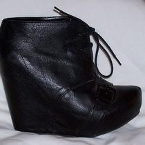 Steve Madden Black Leather Wedge Ankle Booties