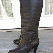 Steve Madden Black Leather Zip Slouch Knee High Fashion Boots Size 9.5 M Photo