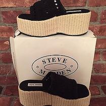 Steve Madden Black Macrame Woven Bottom Shoes Size 8 Wedge Photo