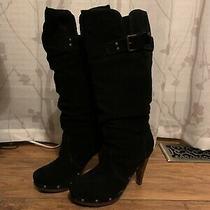 Steve Madden  Black Suede Leather L-Vea  Boots Size 9 Photo