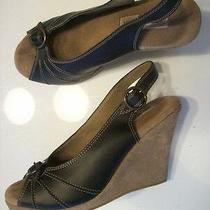 Steve Madden Black Suede Leather Slingback Sandal Buckle Peep Toe Shoes Size 8 M Photo