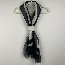 Steve Madden Black White Rectangle Semi-Sheer Lightweight Geometric Knit Scarf Photo