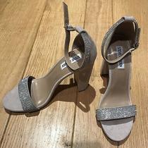 Steve Madden Blush Rhinestone Suede Open Toe Ankle Strap Heels Size 9.5m Photo
