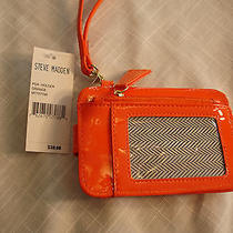 Steve Madden Bright Orange Patent Cell Phone Iphone Pda Id Holder Wristlet Nwt Photo