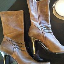 Steve Madden Brown Leather Midcalf Boot 10 Bronze Chain Stiletto Heel Pointy Toe Photo