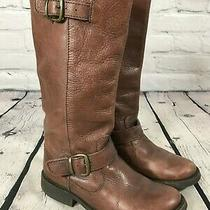 Steve Madden Brown Leather Pull on Riding Boots Women's Size 6.5 M Photo
