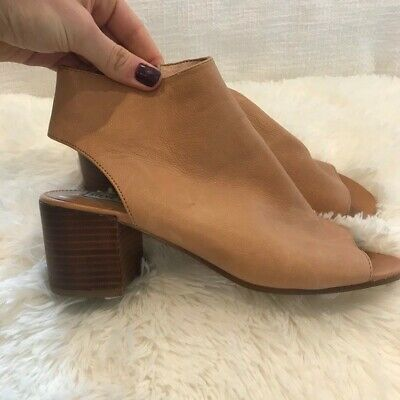 Steve Madden | Brown Peep Toe Heeled Booties Size 8.5 Leather Upper Women's Photo