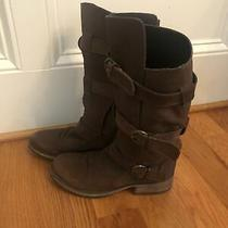 Steve Madden Buck Triple Buckle Belt Motorcycle Boots 8 Brown Leather Photo