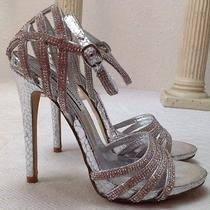Steve Madden Cagged Sandals Heels Size 6.5 Silver Rhinestone Party Wedding Shoes Photo