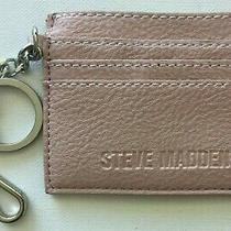 Steve Madden Card Case Pink Blush Logo Name Bag Charm Key Chain Wallet Silver  Photo