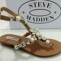 Steve Madden Chantel T-Strap Embellished Flat Sandals Blush Multi Size 5.5 Photo
